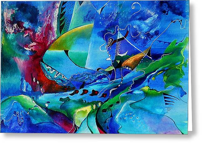 Abstract Mindscape No.5-improvisation Piano And Trumpet Greeting Card by Wolfgang Schweizer