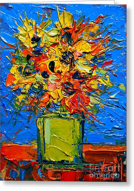 Abstract Miniature Bouquet Greeting Card by Mona Edulesco