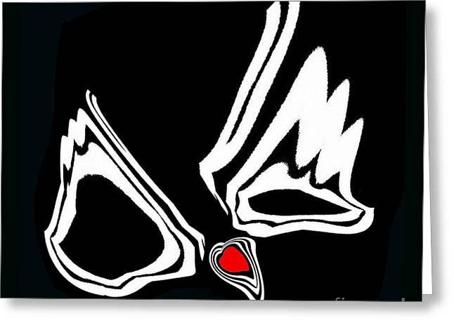 Introversion Greeting Cards - Minimalism Art Black White Red Heart No.34. Greeting Card by Drinka Mercep