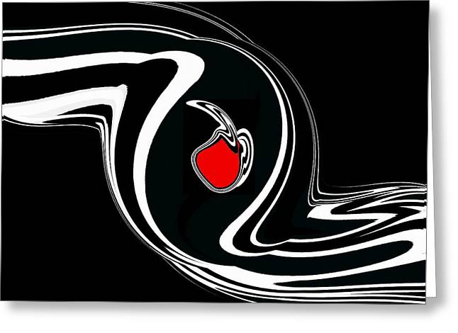 Geometric Style Greeting Cards - Abstract Minimalist Black White Red Art No.124. Greeting Card by Drinka Mercep