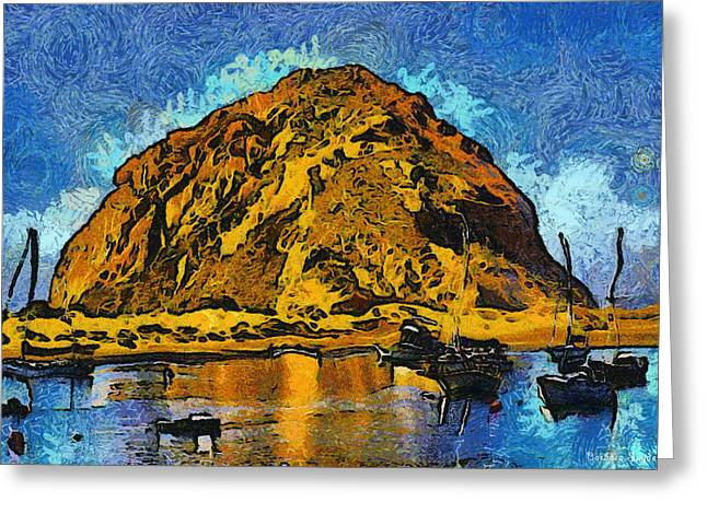 Surfing Photos Digital Art Greeting Cards - Abstract Morro Rock Morro Bay Greeting Card by Barbara Snyder