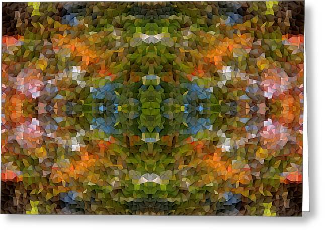 Abstract Mosaic In Green Blue Orange Greeting Card by Beverly Claire Kaiya