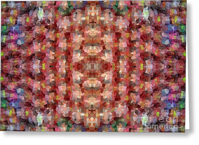 Abstract Mosaic In Red Rainbow Greeting Card by Beverly Claire Kaiya