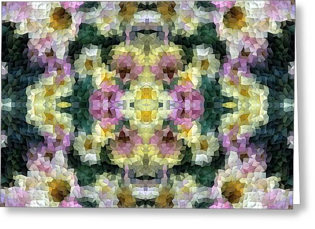 Abstract Mosaic In Yellow Pink Green Greeting Card by Beverly Claire Kaiya