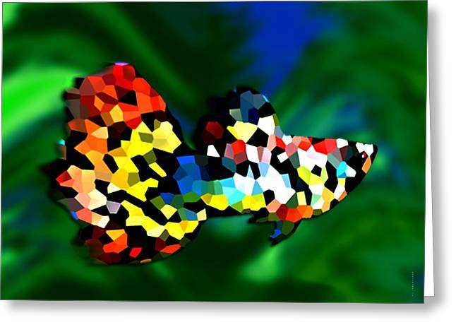 Gradient Greeting Cards - Abstract Multicolor Fish Greeting Card by Mario  Perez