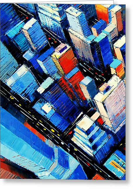 City Buildings Paintings Greeting Cards - Abstract New York Sky View Greeting Card by Mona Edulesco