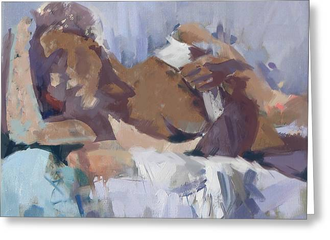 Duvet Greeting Cards - Abstract Nude 21 Greeting Card by Maryam Mughal