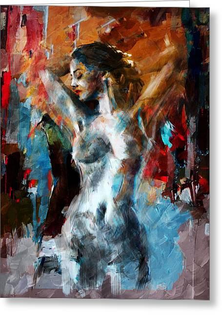 Sassy Greeting Cards - Abstract Nude 3b Greeting Card by Mahnoor Shah