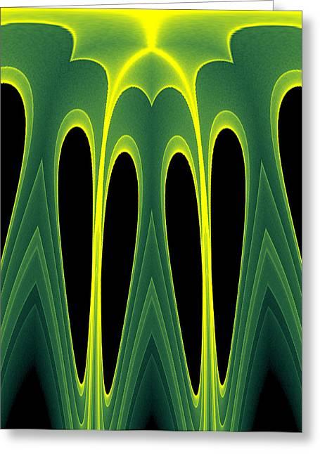 Abstract Of Balanced Green Greeting Card by Linda Phelps