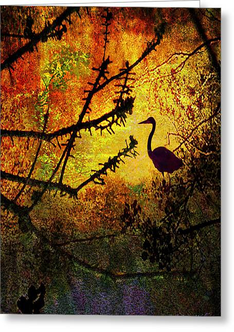 Sunrise Digital Art Greeting Cards - Abstract Of Great Blue Heron At Sunrise Greeting Card by J Larry Walker