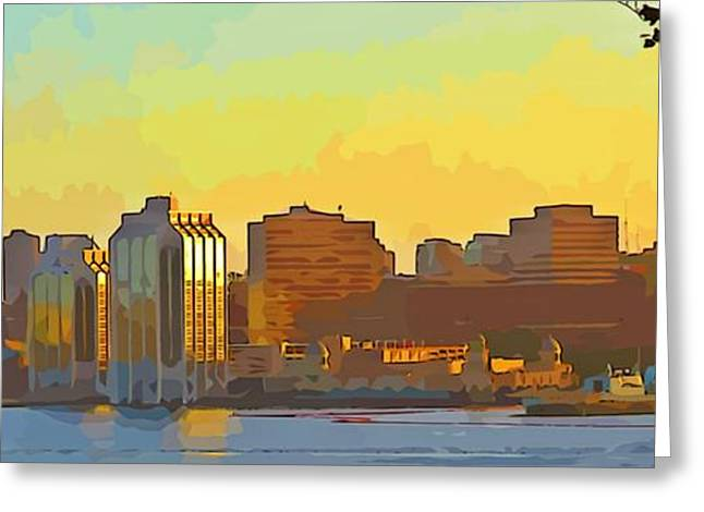 Abstract Digital Paintings Greeting Cards - Abstract of Halifax Greeting Card by John Malone