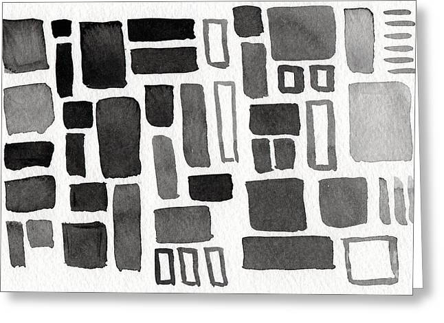 Shapes Mixed Media Greeting Cards - Abstract Open Windows Greeting Card by Linda Woods
