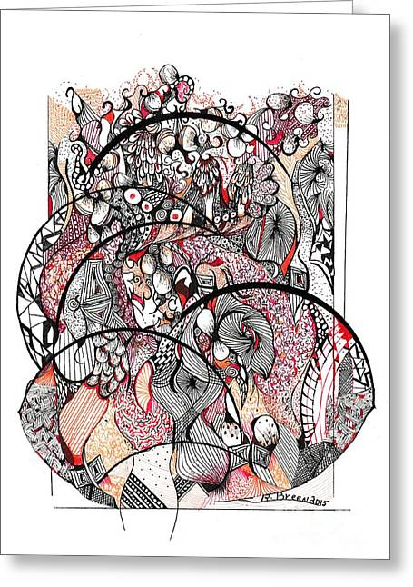Experiment Drawings Greeting Cards - Abstract Orange Greeting Card by Ronda Breen