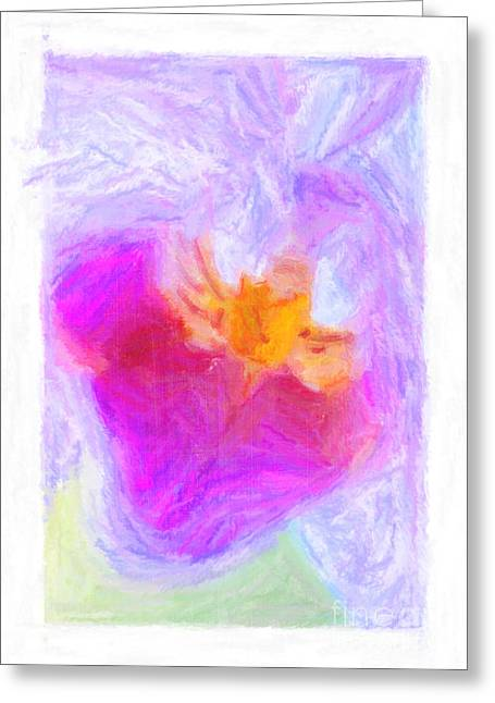 Valentines Day Pastels Greeting Cards - Abstract Orchid Pastel Greeting Card by Antony McAulay