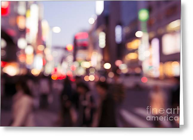 """""""japan City"""" Greeting Cards - Abstract out-of-focus city scenery with colorful lights Greeting Card by Oleksiy Maksymenko"""