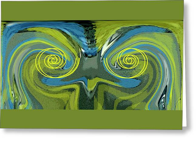 Abstract Owl Portrait Greeting Card by Ben and Raisa Gertsberg