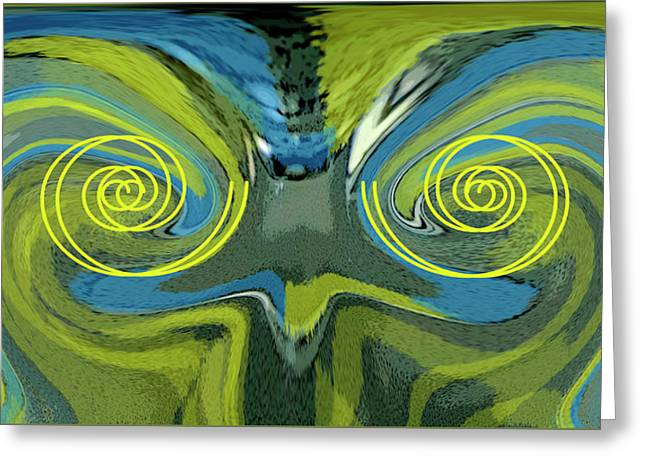 Abstract Owl Greeting Cards - Abstract Owl Portrait Greeting Card by Ben and Raisa Gertsberg