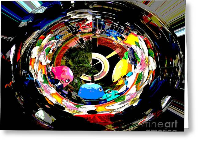 Pacman Digital Greeting Cards - Abstract - PacMan in the Round Greeting Card by Marian Bell