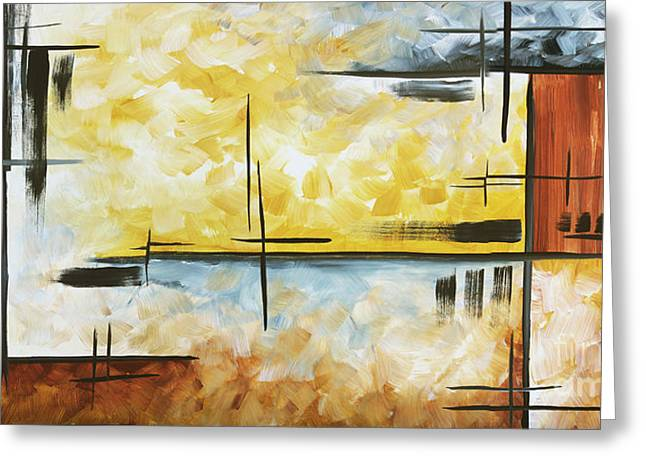 Licensor Greeting Cards - Abstract Painting Chocolate Brown Golden Yellow and Gray Art COLORS OF THE HORIZON by MADART Greeting Card by Megan Duncanson