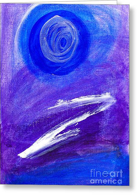 Zed Greeting Cards - Abstract painting in blue and purple Greeting Card by Kay Gale