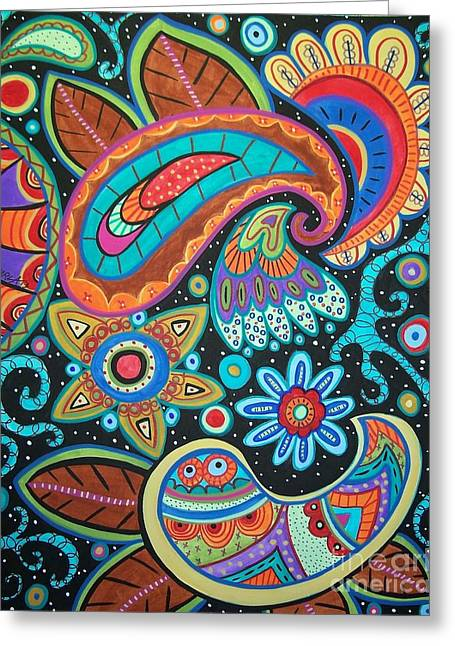 On Black Greeting Cards - Abstract Paisley Greeting Card by Karla Gerard