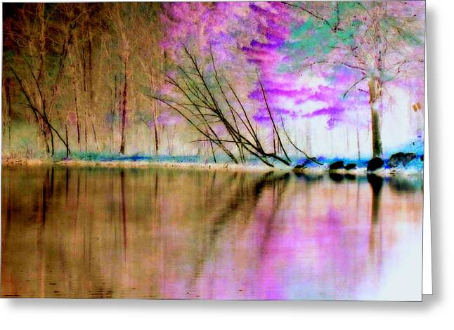 Inverted Color Greeting Cards - Abstract Park Beauty Greeting Card by Lori Pessin Lafargue