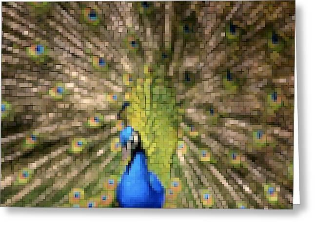 Abstract Peacock digital artwork Greeting Card by Georgeta Blanaru