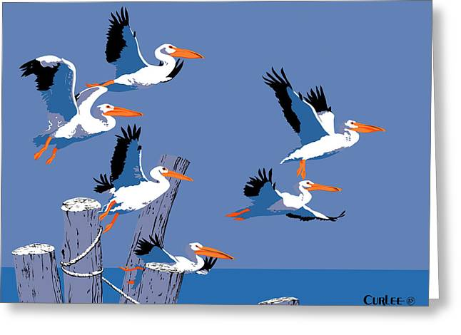 Pelican Paintings Greeting Cards - abstract Pelicans seascape tropical pop art nouveau 1980s florida birds large retro painting  Greeting Card by Walt Curlee