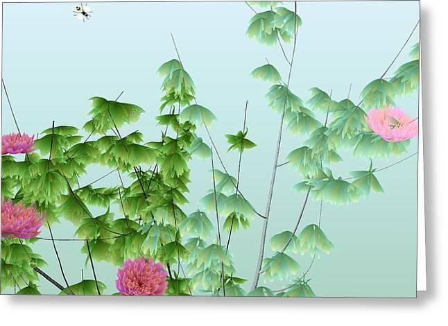 Abstract Peony Wasp Greeting Card by GuoJun Pan