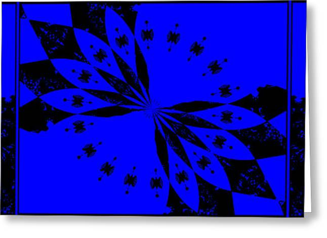 Floral Digital Art Greeting Cards - Abstract Petals 3 panel Blue Greeting Card by Margaret Newcomb