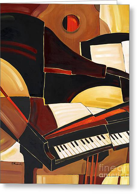 Horns Greeting Cards - Abstract Piano Greeting Card by Paul Brent