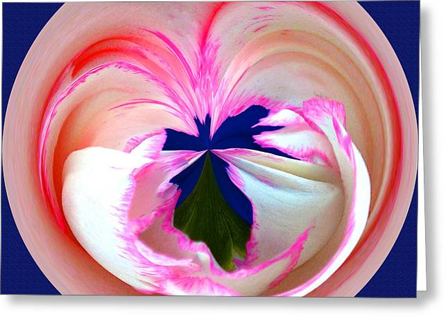 Fractal Orbs Greeting Cards - Abstract Pink Orb Greeting Card by Jeff McJunkin