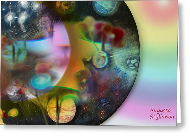 Yellow Black White Silver Greeting Cards - Abstract Planets Greeting Card by Augusta Stylianou