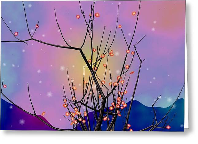 Plum Greeting Cards - Abstract plum Greeting Card by GuoJun Pan