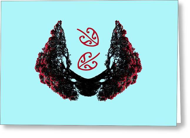 Aotearoa Digital Greeting Cards - Abstract Pohutukawa Greeting Card by Lastlittlebird