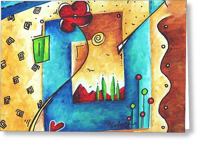 Abstract Pop Art Landscape Floral Original Painting JOYFUL WORLD by MADART Greeting Card by Megan Duncanson