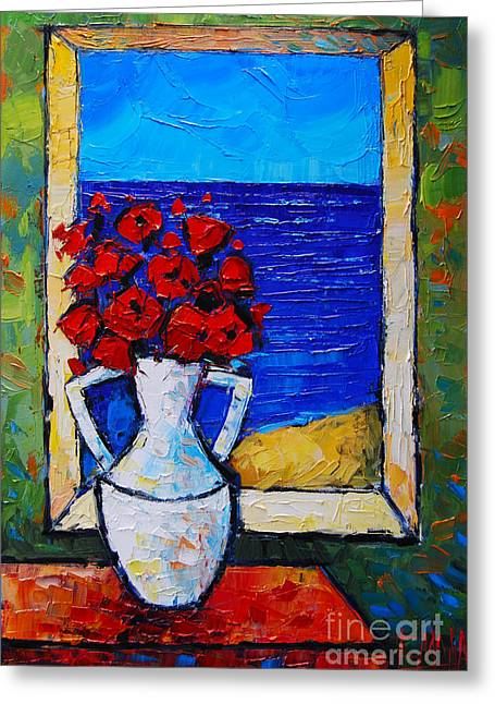 Still Life By Window Greeting Cards - Abstract Poppies By The Sea Greeting Card by Mona Edulesco