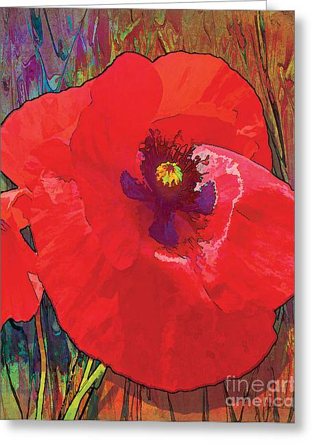 Purple Garden Greeting Cards - Abstract Poppy A Greeting Card by Grace Pullen