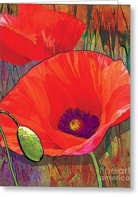 Purple Garden Greeting Cards - Abstract Poppy B Greeting Card by Grace Pullen