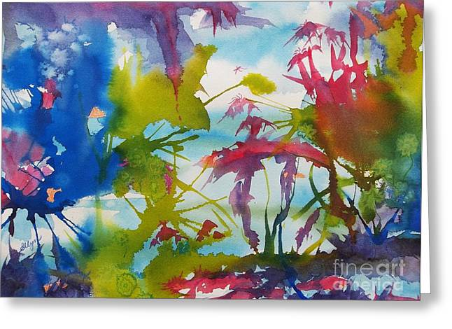 Splashy Paintings Greeting Cards - Abstract -  Primordial Life Greeting Card by Ellen Levinson
