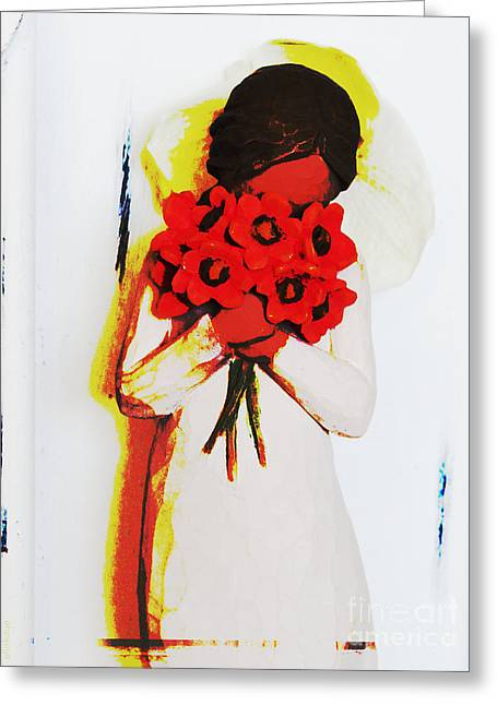 Abstract Print Art Flower Girl 2 Greeting Card by Ella Kaye Dickey