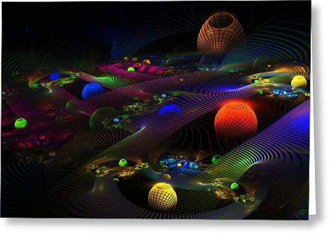 Psychedelic Space Art Greeting Cards - Abstract Psychedelic Fractal Art Greeting Card by Keith Webber Jr