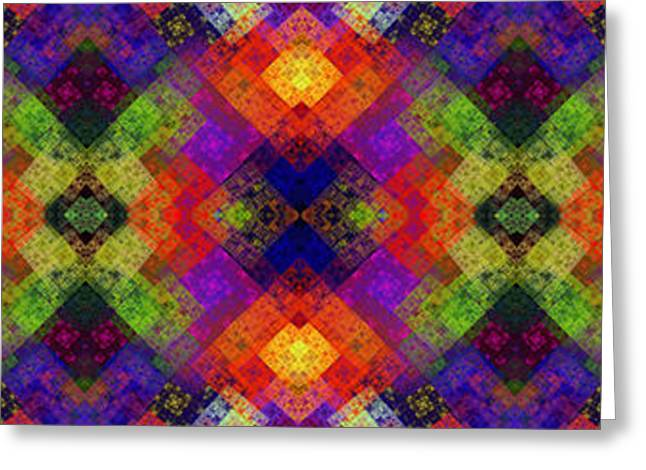 Geometric Art Greeting Cards - Abstract - Rainbow Connection - Panel - Panorama - Vertical Greeting Card by Andee Design