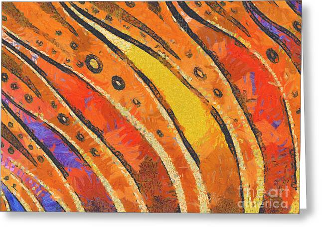 Rainbow Digital Art Greeting Cards - Abstract rainbow tiger stripes Greeting Card by Pixel Chimp