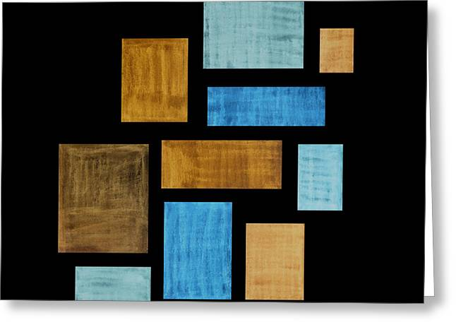 Turquoise Abstract Art Greeting Cards - Abstract Rectangles Greeting Card by Frank Tschakert
