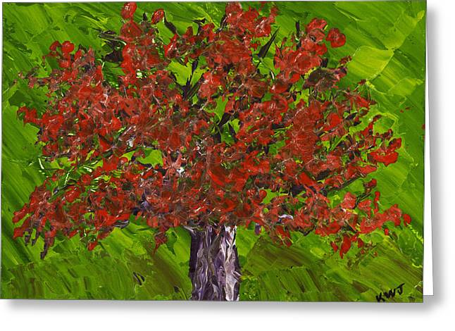 Lone Greeting Cards - Abstract Red Maple Tree Painting Greeting Card by Keith Webber Jr