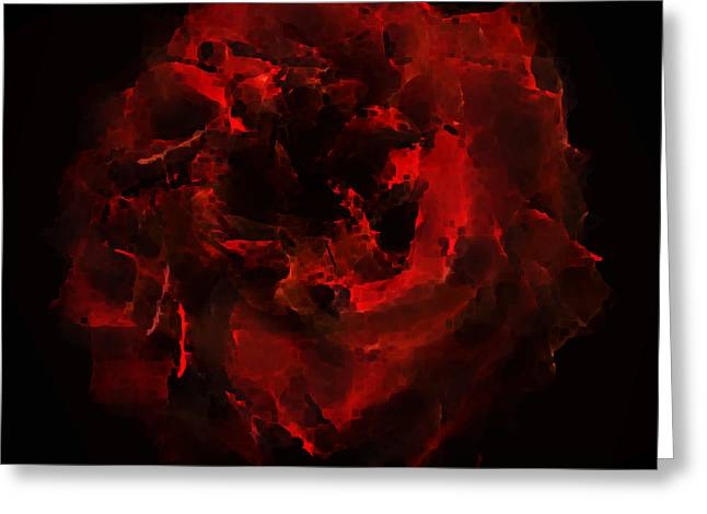 Abstract Digital Paintings Greeting Cards - Abstract Red Rose Greeting Card by Georgeta Blanaru