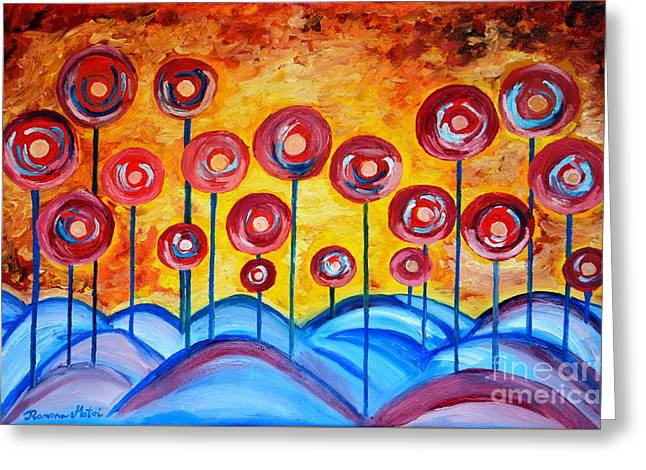 Coloured Greeting Cards - Abstract Red Symphony Greeting Card by Ramona Matei