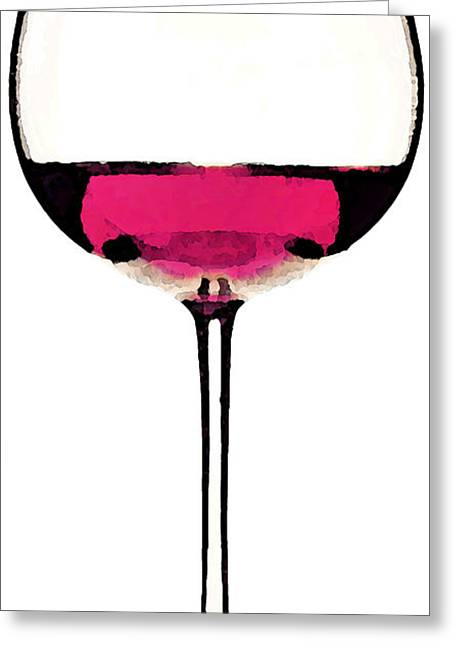 Sauvignon Digital Art Greeting Cards - Abstract Red Wine Glass 1 Greeting Card by Sharon Cummings