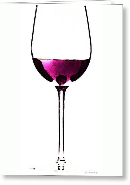 Wall Framed Prints Digital Greeting Cards - Abstract Red Wine Glass 2 Greeting Card by Sharon Cummings